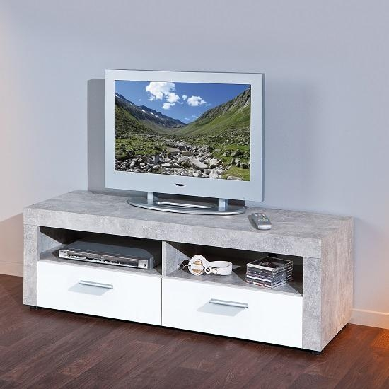 Croagh Tv Stand In Light Grey With 2 Drawers In White Intended For Most Up To Date Grey Tv Stands (Image 8 of 20)