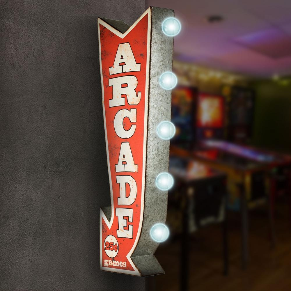 Crystal Art Gallery Arcade Games Metal Arrow Vintage Marquee Led With Regard To Arcade Wall Art (Image 2 of 20)