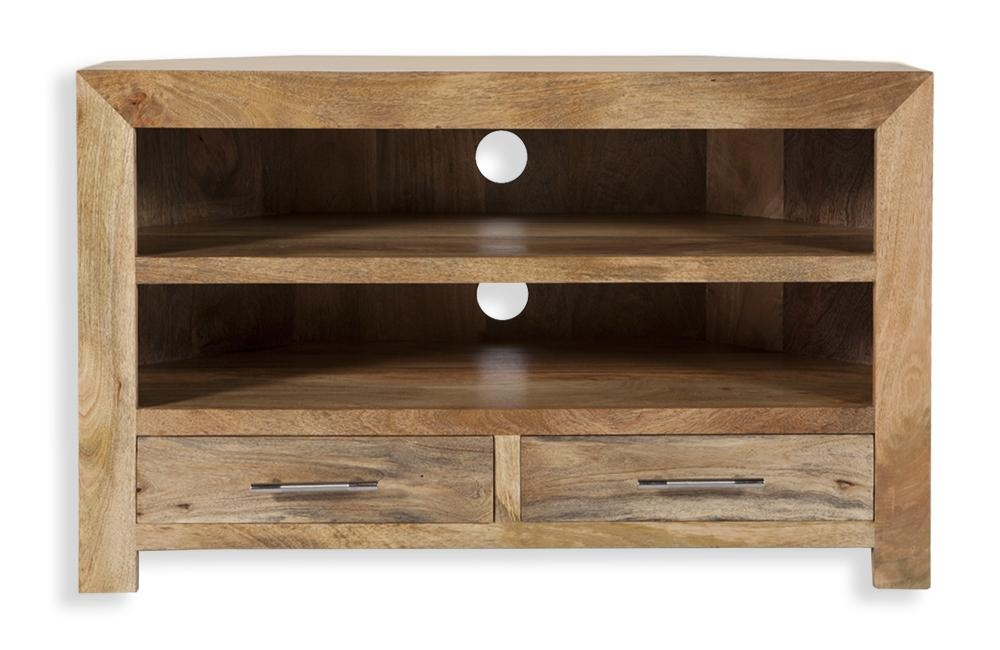 Cube Petite Indian Mango Wood Corner Tv Cabinet Tv Stand Throughout Recent Wooden Corner Tv Units (Image 9 of 20)