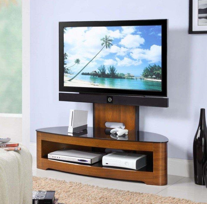 Curve Jf209 Walnut Cantilever Tv Stand Inside 2017 Cantilever Tv Stands (Image 7 of 20)