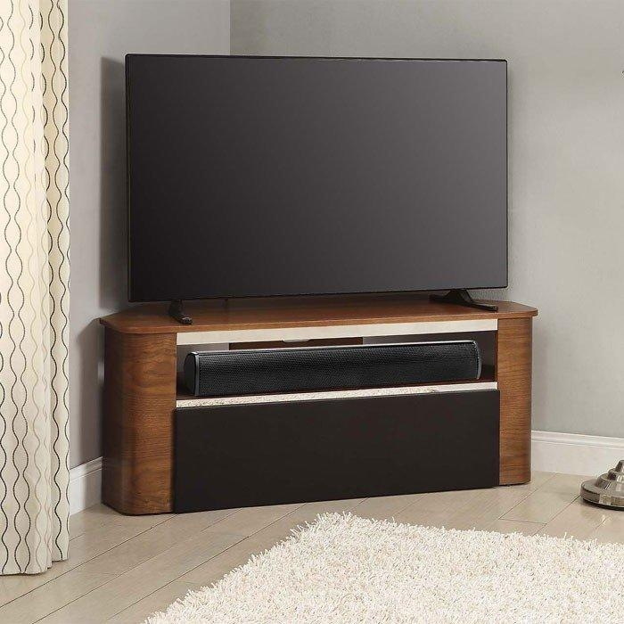 Curve Jf708 Walnut Tv Stand Suitable For Use With Soundbars With Regard To Most Current Walnut Corner Tv Stands (Image 8 of 20)