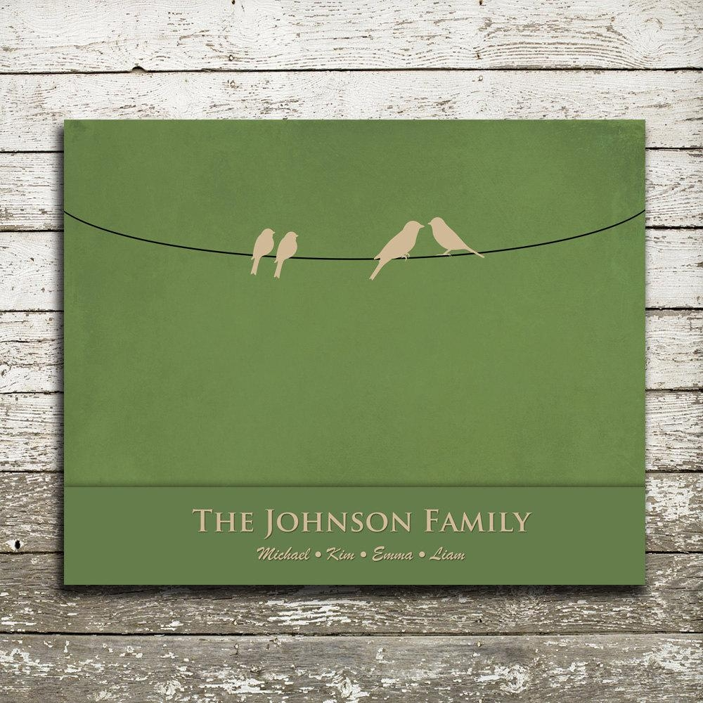 Custom Family Birds On A Wire Wall Art 8X10 Gift Print Regarding Birds On A Wire Wall Art (Image 12 of 20)
