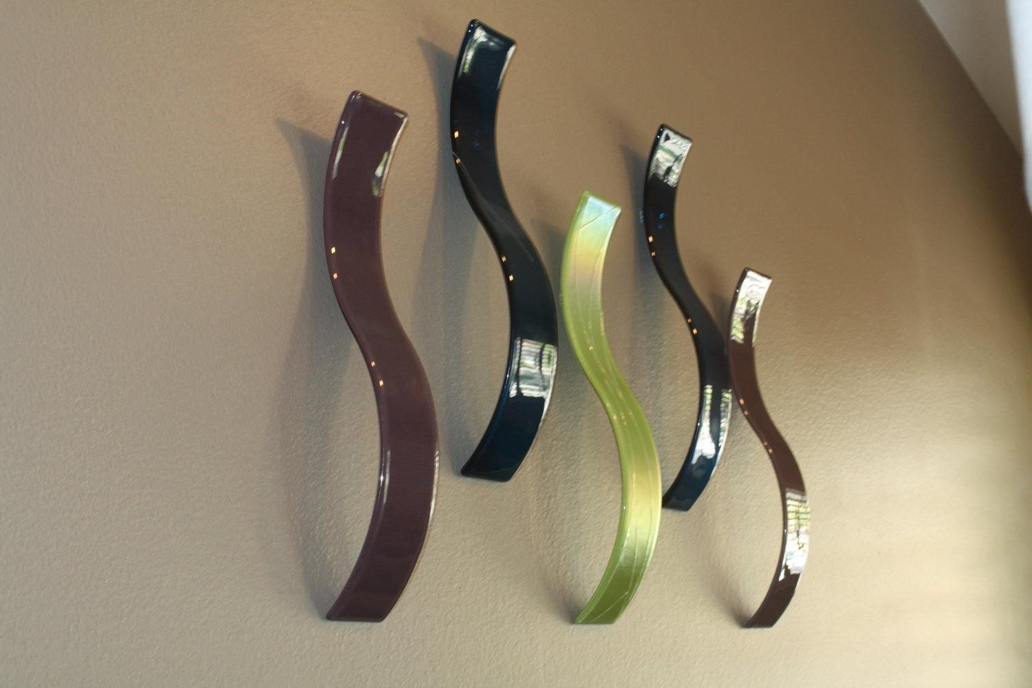 Custom Fused Glass Wall Art / Sculpture Waves Set Of 5 Regarding Large Fused Glass Wall Art (View 19 of 20)