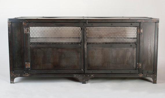 Custom Handmade Industrial Metal Media Cabinet Tv Stand In Recent Industrial Metal Tv Stands (Image 5 of 20)