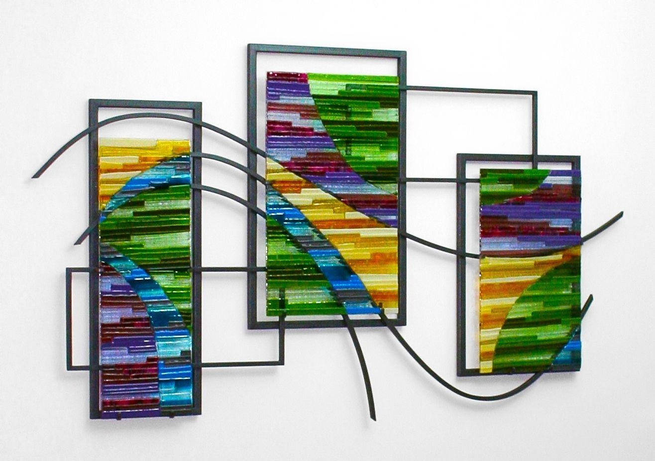 Custom Made Fused Glass And Metal Wall Artbonnie M (Image 18 of 20)
