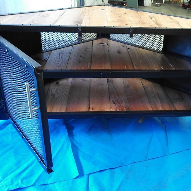 Custom Original Design Triangle Media Cabinet, Triangle Table With Regard To 2017 Industrial Corner Tv Stands (Image 12 of 20)