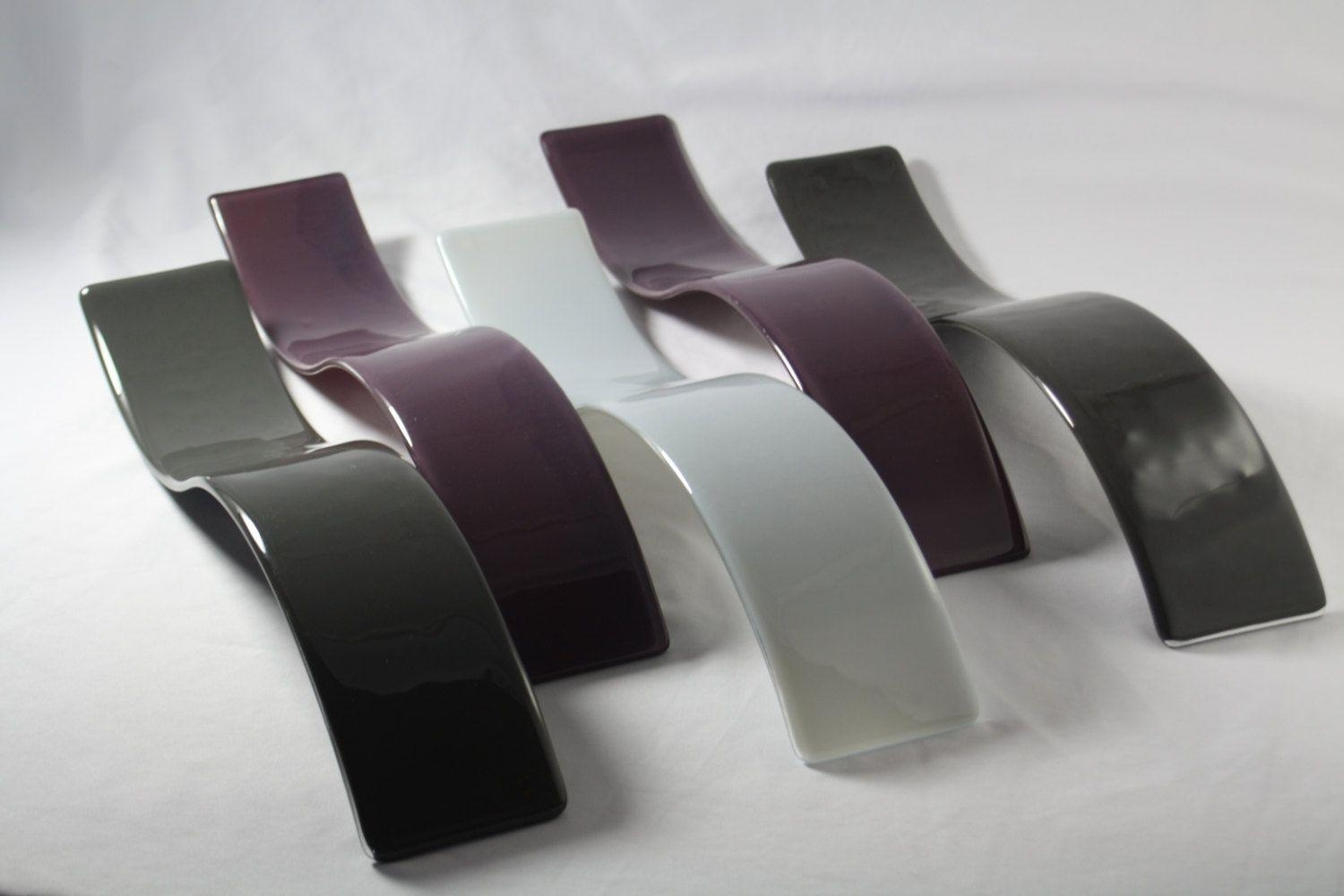 Custom Purple And Gray Wave Fused Glass Wall Artj.m (Image 11 of 20)