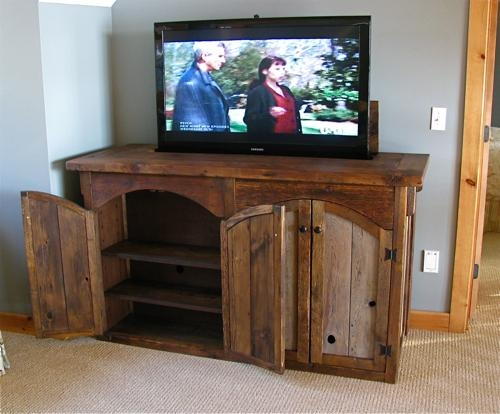Custom Rustic Furnituredon Mcaulay Rustic Tv Lift Cabinet 4 Door: With Most Recent Rustic Wood Tv Cabinets (Image 11 of 20)
