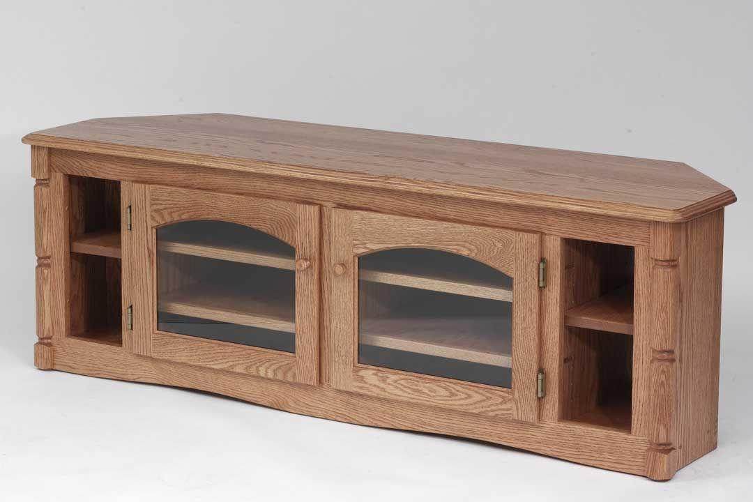 Custom Solid Wood Tv Stand Country Oak Plasma Lcd Corneroak pertaining to Most Current Solid Wood Corner Tv Cabinets