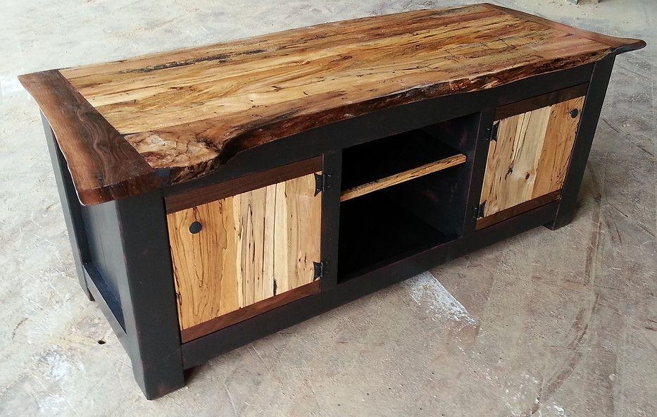 Custom Spalted Maple Live Edge Tv Standeduardo Custom Inside Most Up To Date Maple Wood Tv Stands (Image 6 of 20)