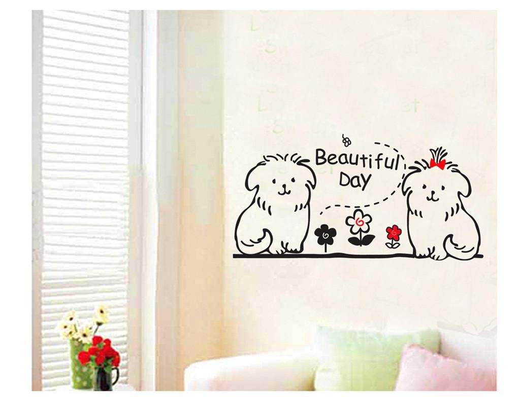 Cute Dog Animal Kids Wall Decals Quotes Princess Love Retro Art Within Dog Sayings Wall Art (Image 7 of 20)