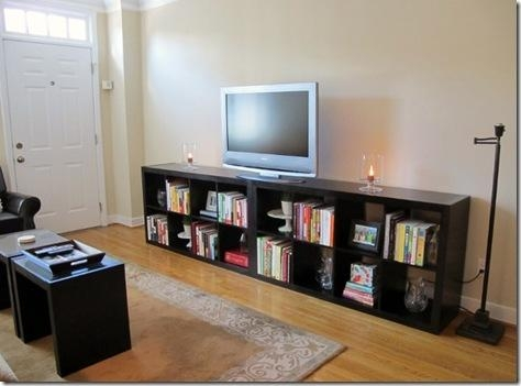 Daily Garnish Blog Archive Our House Bathroom Amp Living Room Inside Most Current Tv Stands And Bookshelf (Image 10 of 20)