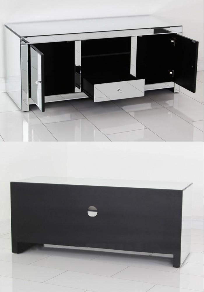 Daisey Mirrored Tv Cabinet 135Cm With Regard To 2017 Mirrored Tv Cabinets Furniture (Image 7 of 20)