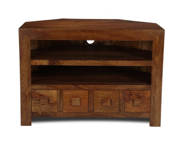 Dakota 4 Drawer Corner Tv Unit | Trade Furniture Company™ In Most Up To Date Wooden Corner Tv Cabinets (Image 12 of 20)
