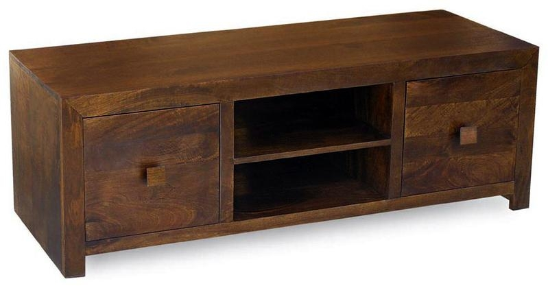 Dakota Mango Media Centre Tv Unit (Walnut/ Dark Brown) – Authentic Intended For Latest Mango Tv Units (Image 9 of 20)