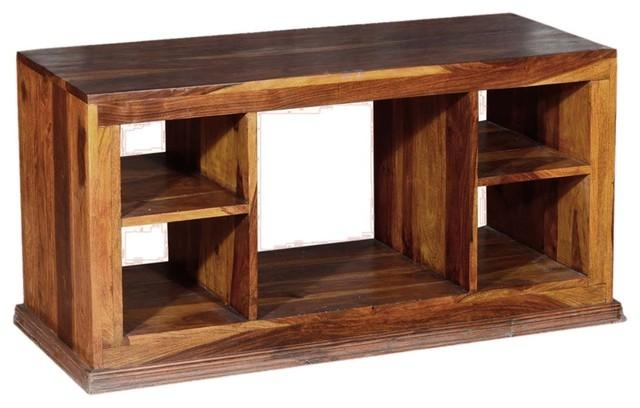 Dallas Contemporary Solid Hardwood Open Back Tv Stand Media Pertaining To 2017 Open Shelf Tv Stands (View 11 of 20)