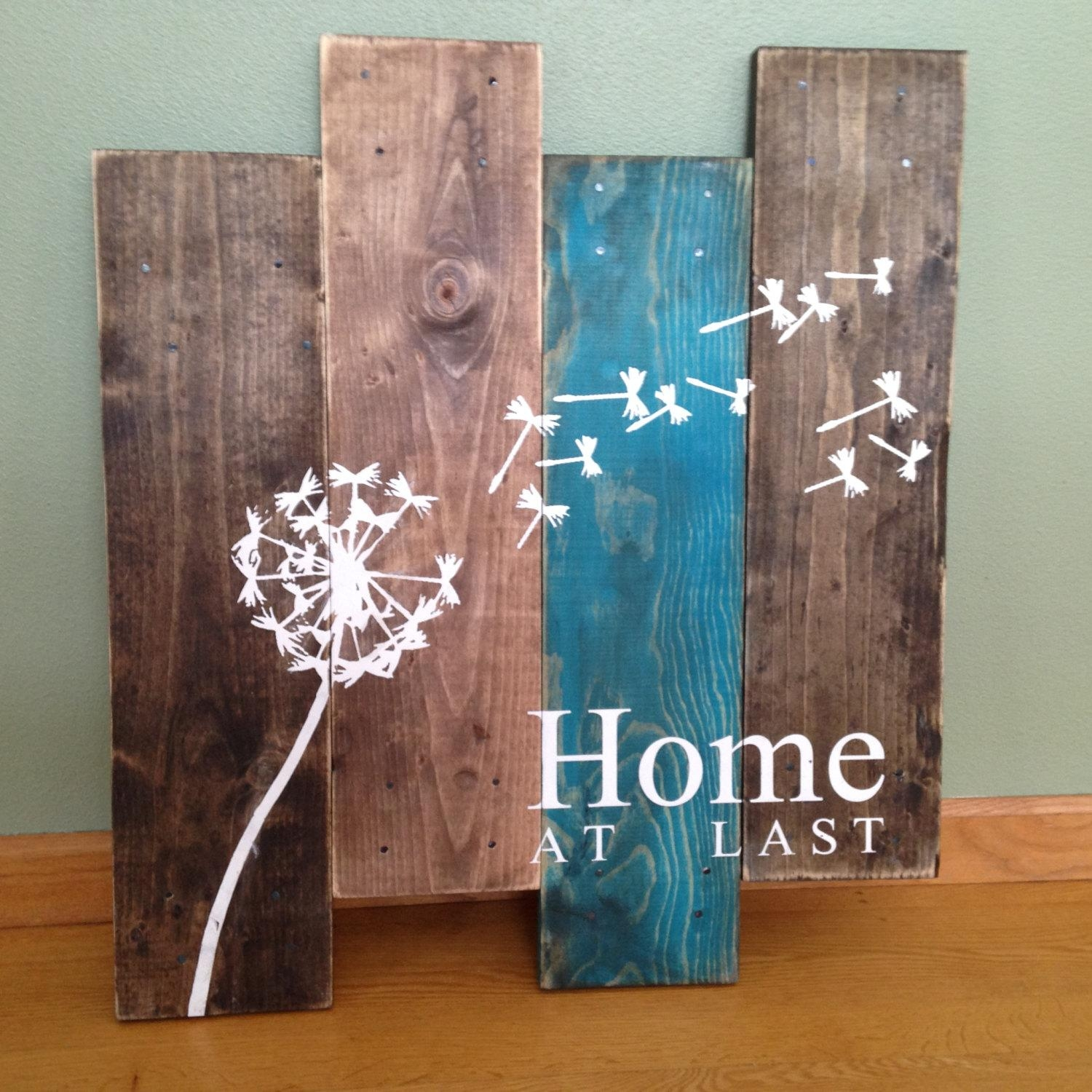Dandelion Wall Hanging/home At Last/ Rustic Wall Decor/teal In Turquoise Metal Wall Art (View 8 of 20)