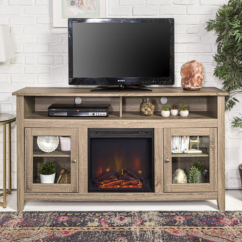 "Darby Home Co Isabel Highboy 58"" Tv Stand With Fireplace & Reviews For 2017 Oak Veneer Tv Stands (Image 11 of 20)"