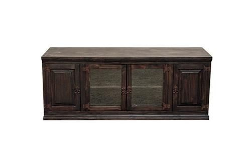 "Dark 60"" Tv Stand With Glass Doors Flat Screen Console Rustic For Best And Newest Dark Wood Tv Stands (Image 8 of 20)"