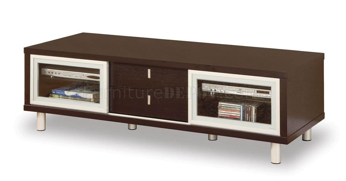 Dark Chocolate Finish Contemporary Tv Stand With Cabinets Within Best And Newest Dark Tv Stands (Image 11 of 20)