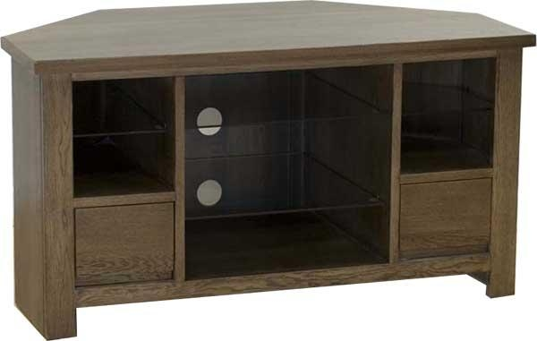 Dark Oak Corner Tv/av Unit With Media Storage And Glass Shelves Pertaining To Latest Dark Wood Corner Tv Stands (View 17 of 20)