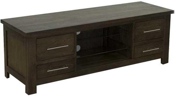 Dark Oak Plasma Tv/av Unit With Media Storage And Glass Shelf Regarding Most Popular Dark Wood Tv Cabinets (Image 9 of 20)