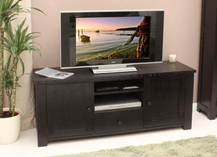 Dark Wood Tv Cabinet With Drawer For Dvd Storage | Home Interiors Pertaining To Recent Dark Wood Tv Cabinets (Image 10 of 20)