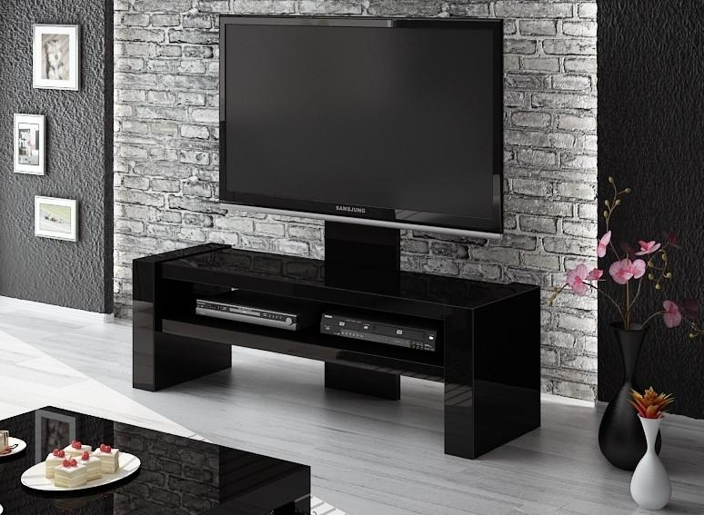 Davos Black Tv Stand Throughout Recent Black Gloss Tv Bench (Image 4 of 20)