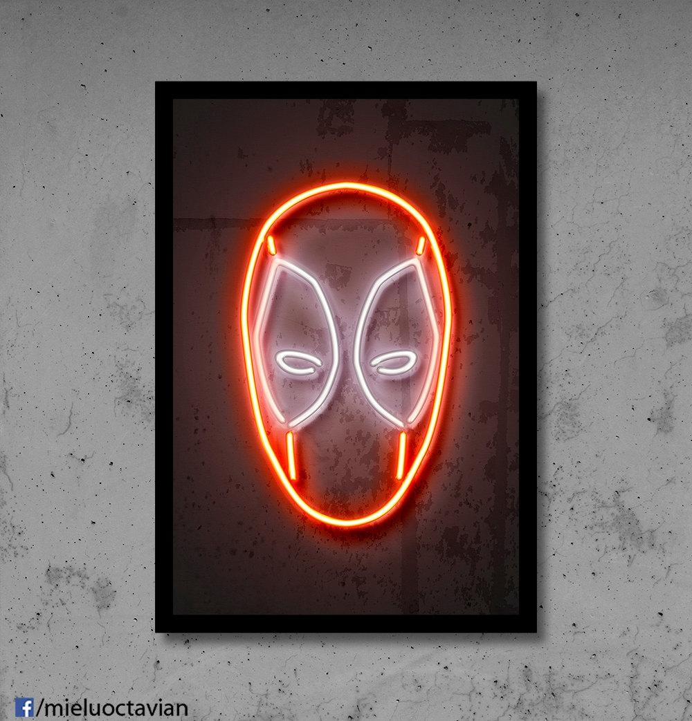 Deadpool Wall Art Deadpool Nursery Deadpool Neon Superhero With Regard To Neon Light Wall Art (View 7 of 20)