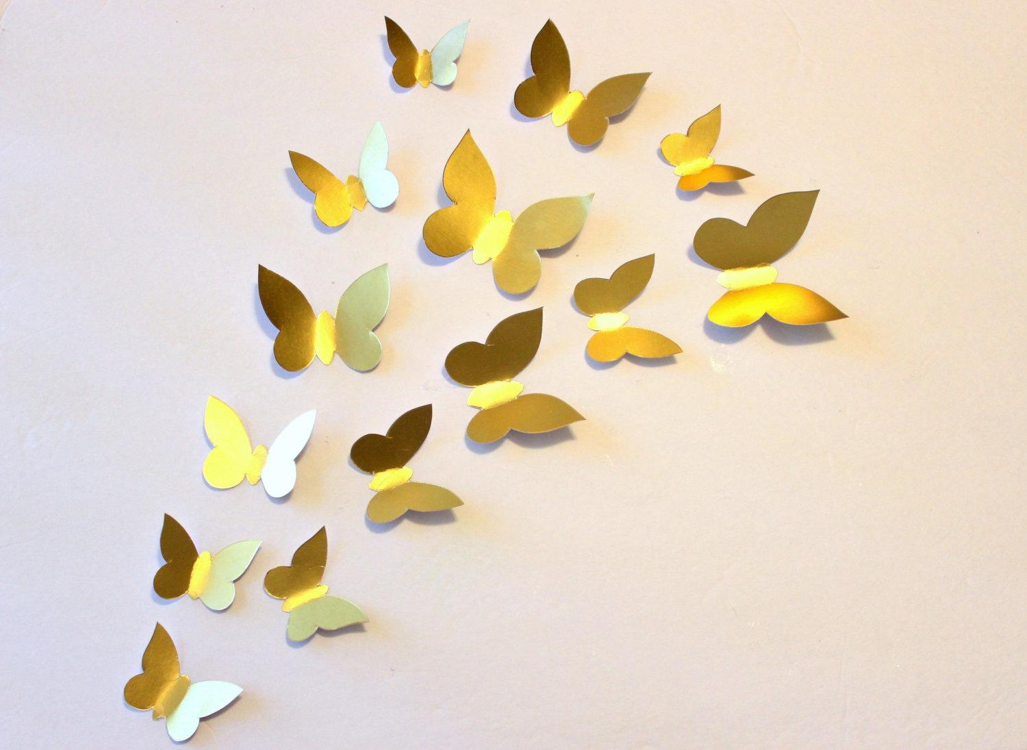 Decor : 5 Butterfly Wall Decor Patterns Gold Butterfly Gold Wall With Gold Wall Art Stickers (Image 9 of 20)