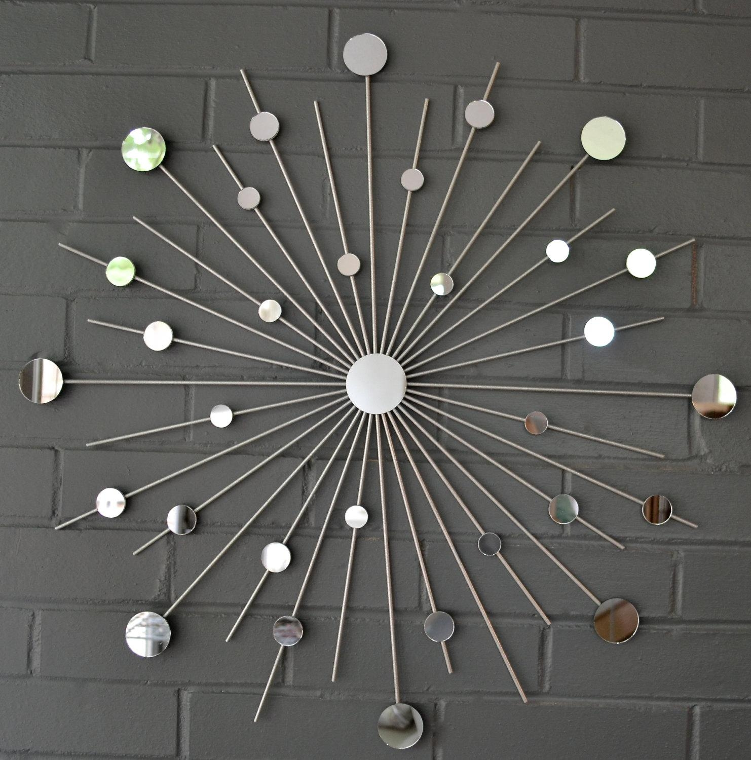 Decorating: 24 Starburst Modern Metal Wall Art Mirror Retro For With Regard To Silver Starburst Wall Art (Image 3 of 20)