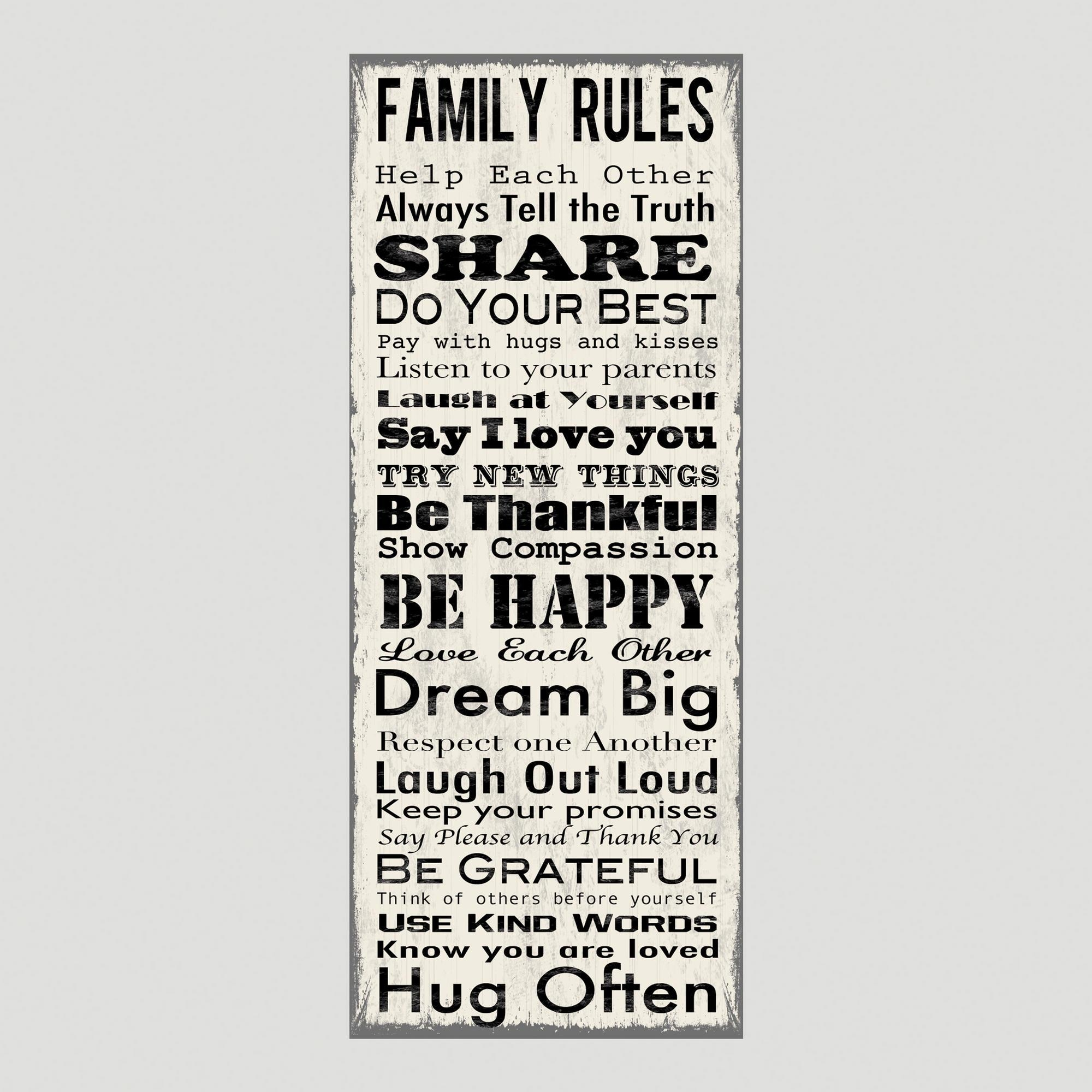 Featured Photo of Family Rules Canvas Wall Art