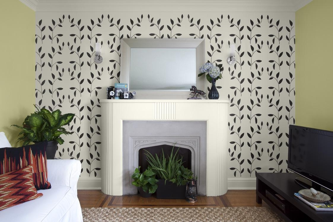 Decoration Ideas: Black Lovely Flower On Light Grey Wall Painting Intended For Stencil Wall Art (Image 5 of 20)