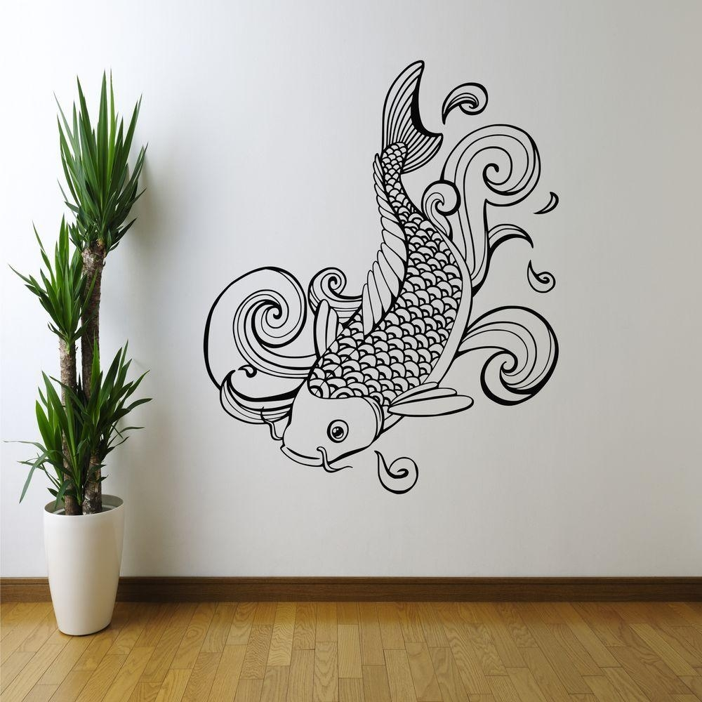 Decoration Ideas: Cool White Sea Horse Wall Art Stencil On Blue Throughout Stencil Wall Art (Image 6 of 20)