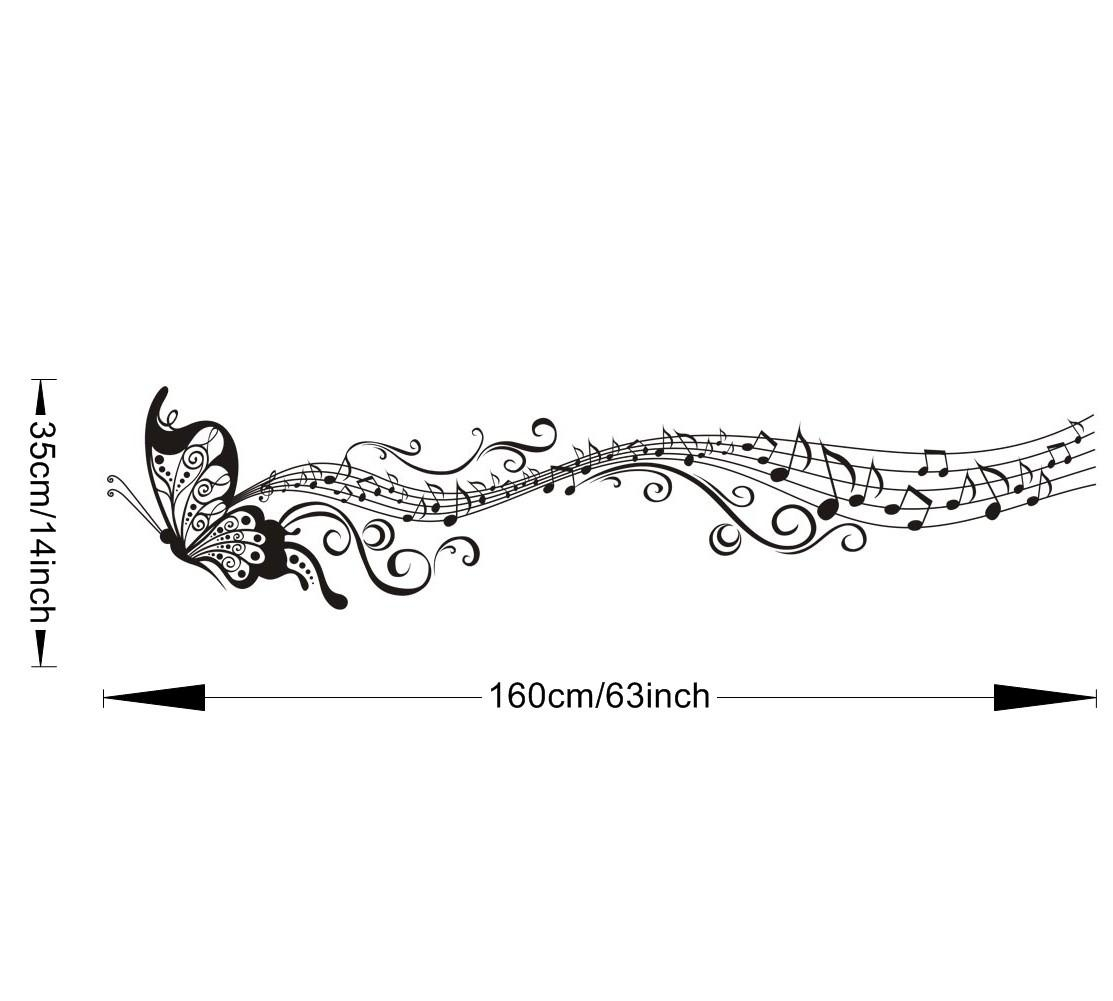 Decorative Music Butterfly Wall Stickers Wall Art Decal Throughout Music Notes Wall Art Decals (Image 5 of 20)