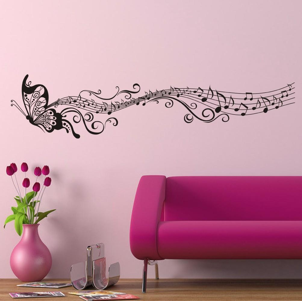 Decorative Music Butterfly Wall Stickers Wall Art Decal Throughout Music Notes Wall Art Decals (Image 4 of 20)