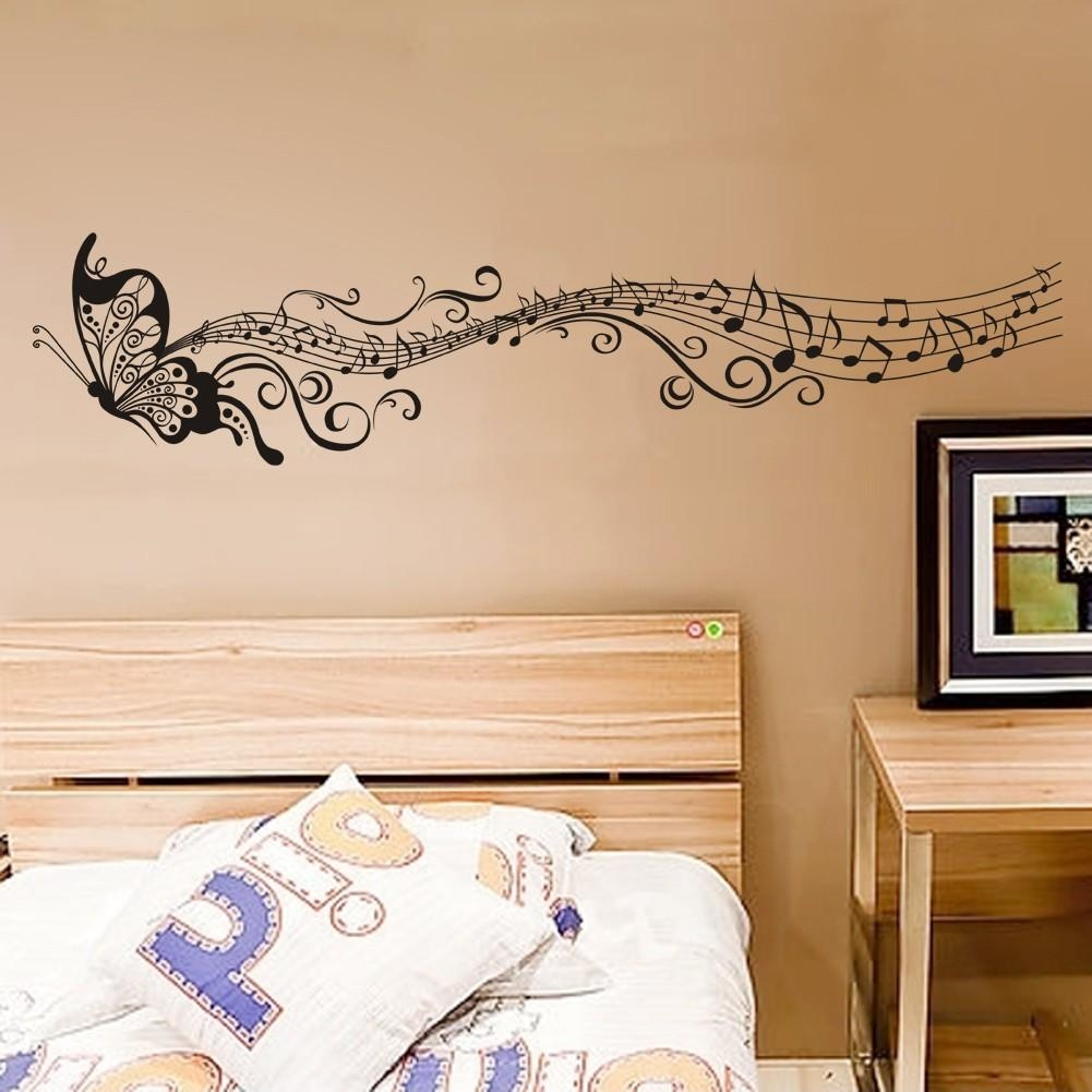 Decorative Music Butterfly Wall Stickers Wall Art Decal With Music Notes Wall Art Decals (Image 6 of 20)