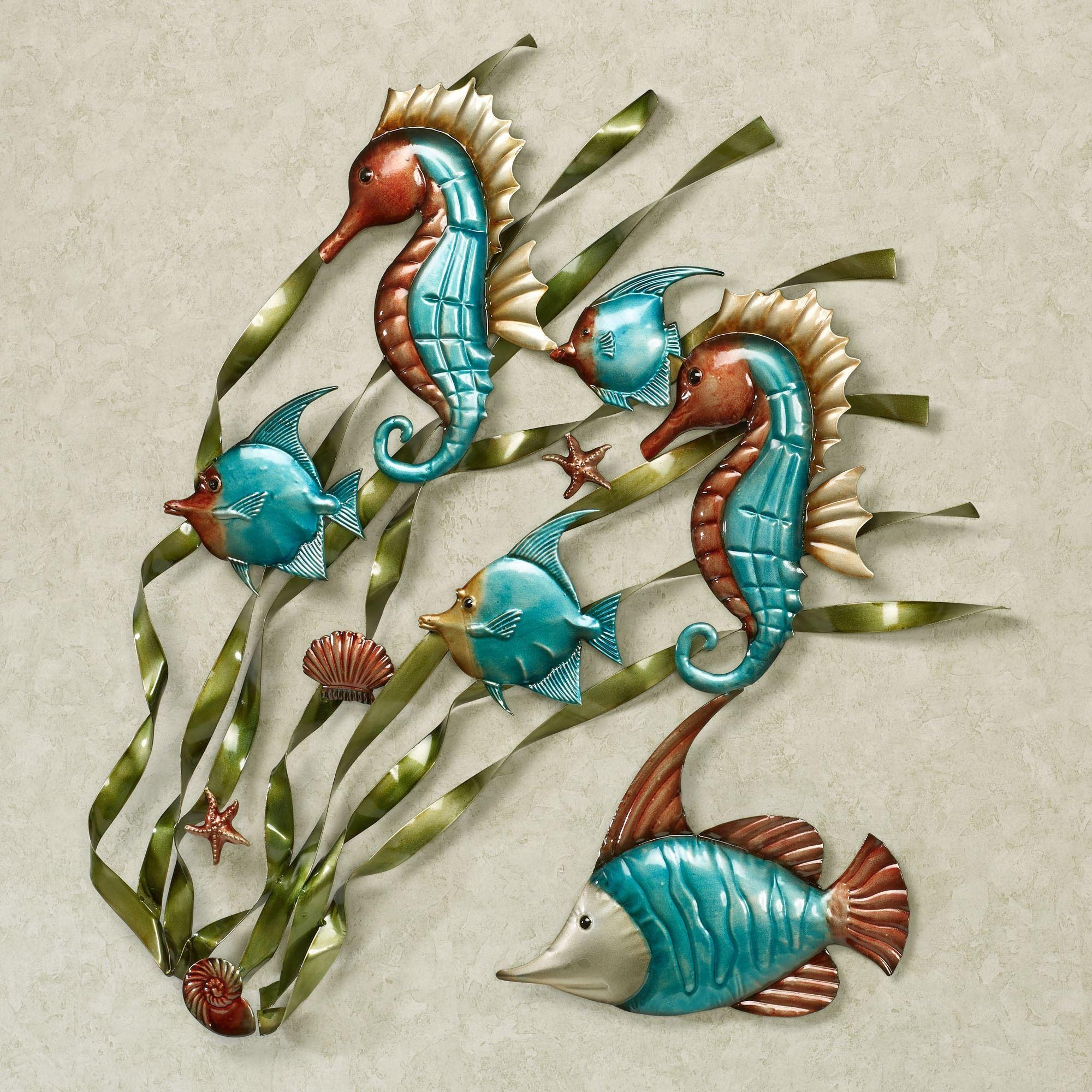 Deep Sea Fish And Seahorse Metal Wall Art Pertaining To Turquoise Metal Wall Art (View 16 of 20)