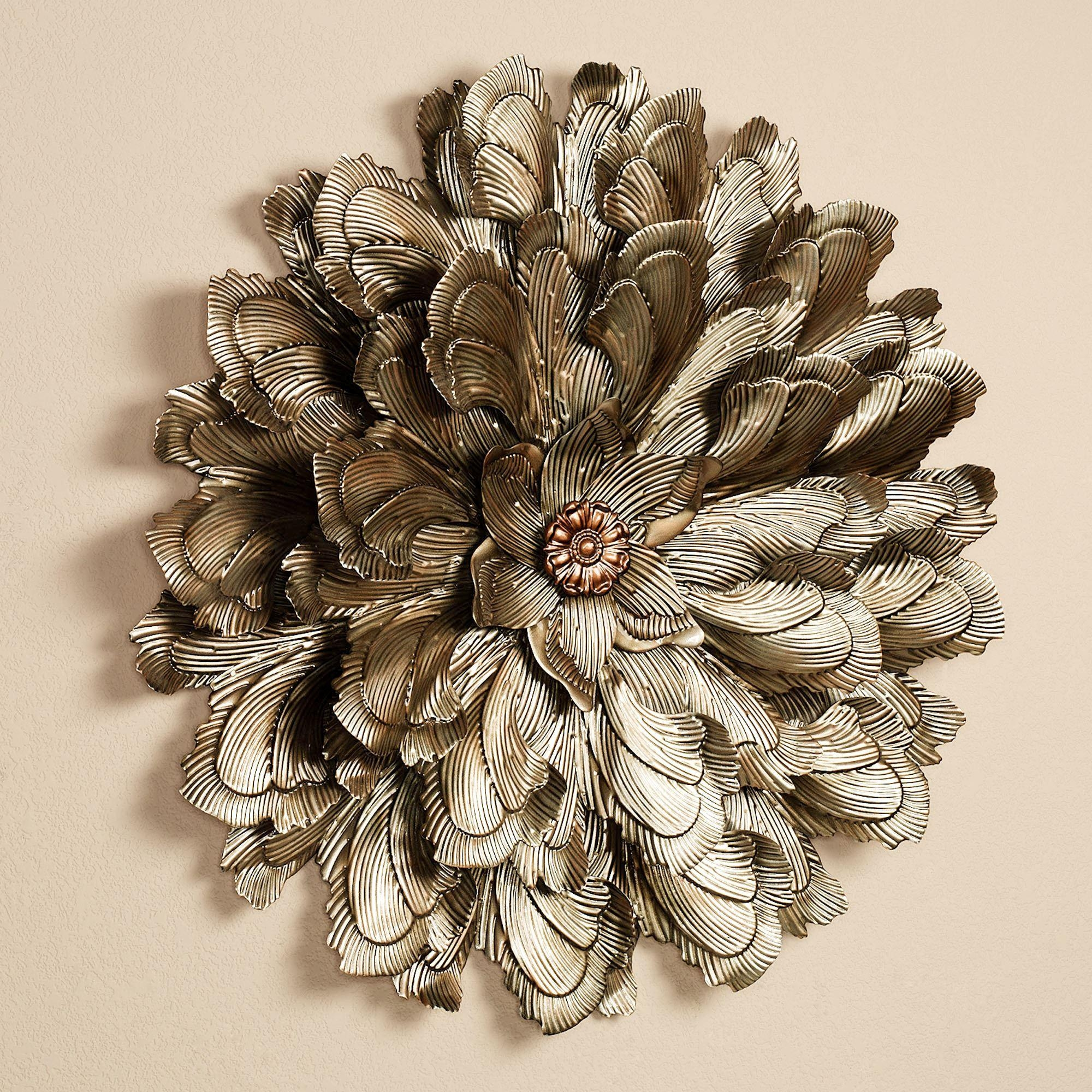 Delicate Flower Blossom Metal Wall Sculpture Intended For Touch Of Class Metal Wall Art (Image 6 of 20)