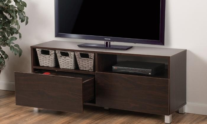 Delonte Dark Walnut Tv Stand | Groupon Goods Pertaining To Current Dark Walnut Tv Stands (Image 11 of 20)