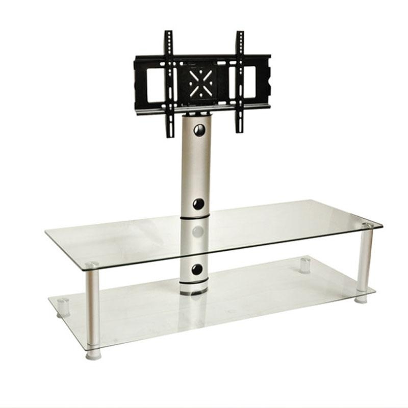 Design 2 Fit Clear Glass Tv Stand With Bracket For Up To 55 Inch Pertaining To 2018 Tv Stands With Bracket (Image 8 of 20)