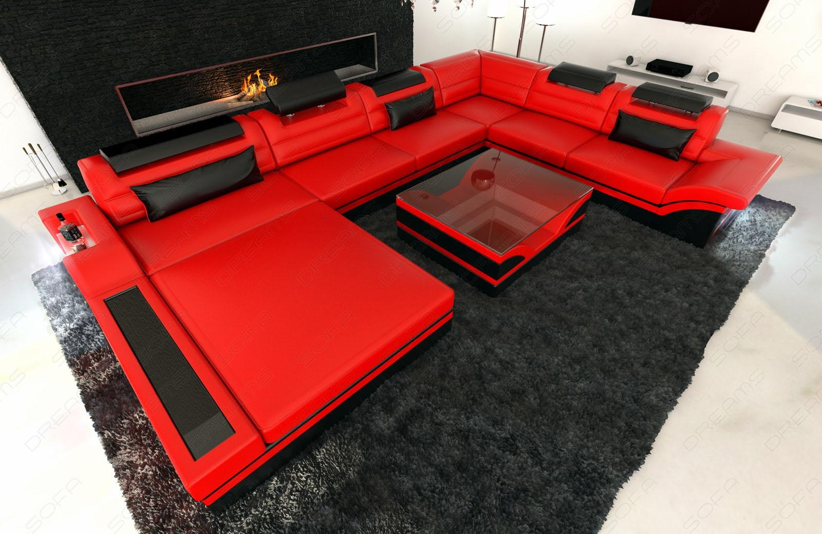 Design Sectional Sofa Mezzo Xxl With Led Lights Red Black | Ebay Intended For Sofas With Lights (Image 7 of 21)