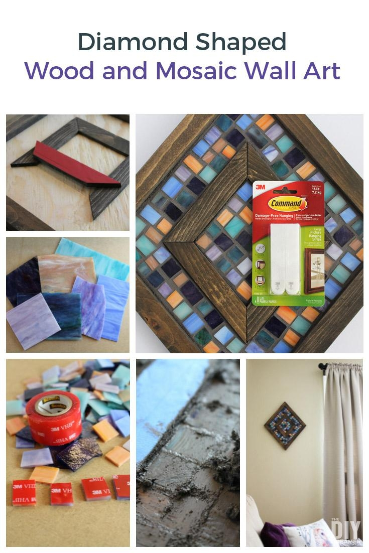 Diamond Shaped Wood And Mosaic Wall Art – Unique Wall Decor With Diy Mosaic Wall Art (Image 10 of 20)