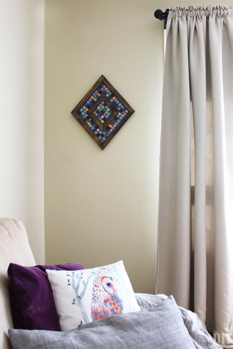 Diamond Shaped Wood And Mosaic Wall Art – Unique Wall Decor Within Diy Mosaic Wall Art (Image 11 of 20)