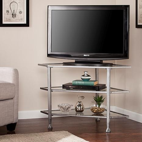 Dina Metal/glass Corner Tv Stand – Distressed Silver – 8521795 | Hsn In Best And Newest Silver Tv Stands (Image 9 of 20)