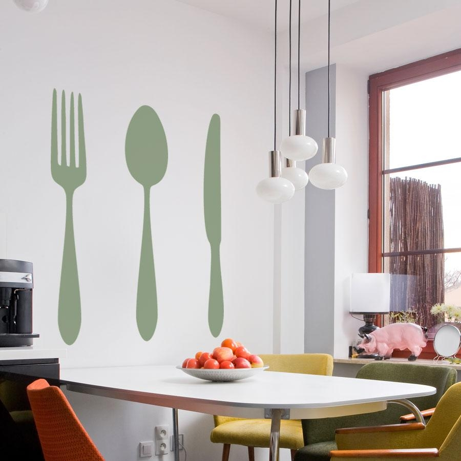 Dining Cutlery Silhouette Set Wall Art Decals Inside Silverware Wall Art (Image 2 of 20)