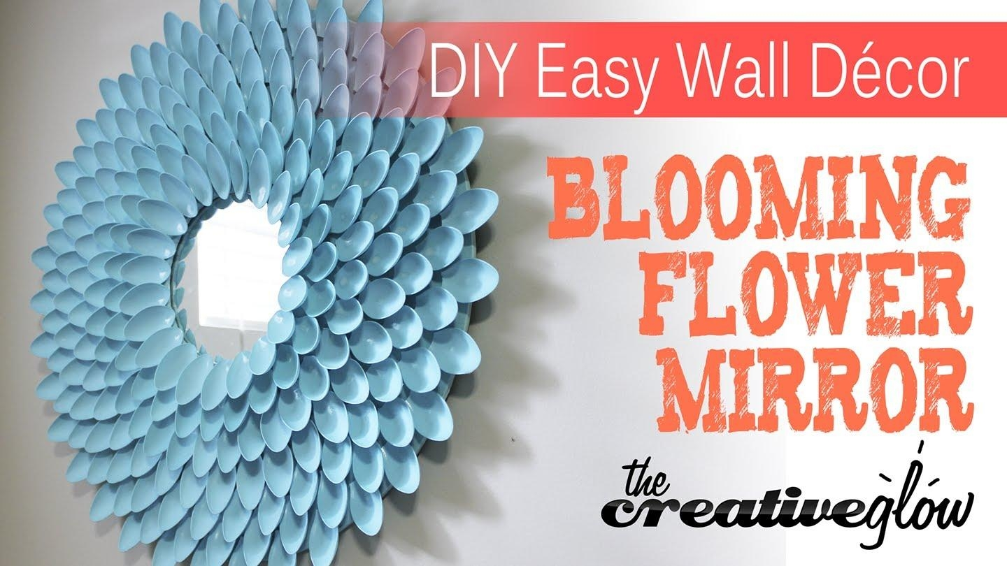 Diy Blooming Flower Mirror – From Plastic Spoons – Youtube In Plastic Spoon Wall Art (View 11 of 20)