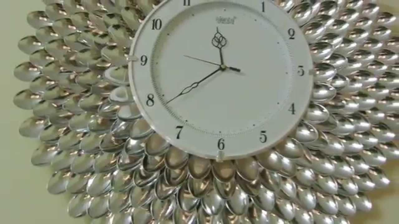 Diy Designer Wall Clock/wall Decor & Art – Youtube Regarding Plastic Spoon Wall Art (View 8 of 20)