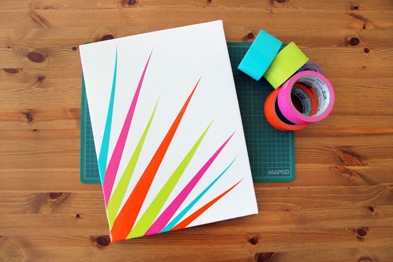 Diy Duct Tape Canvas Art In 90 Seconds | Brit + Co Inside Duct Tape Wall Art (Photo 10 of 20)
