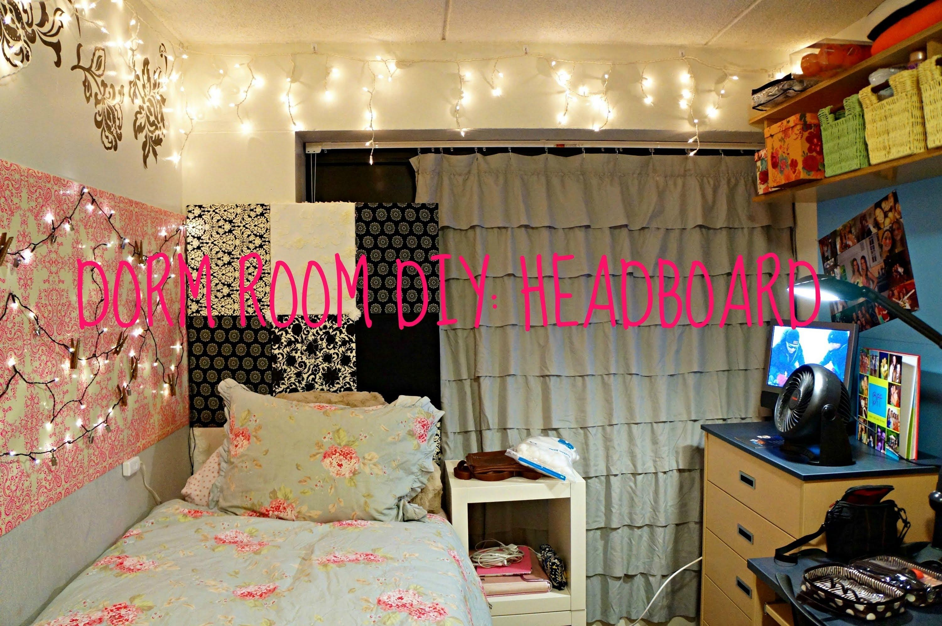 Diy: Headboard! | Dorm Room Diy – Youtube Within Wall Art For College Dorms (Image 11 of 20)